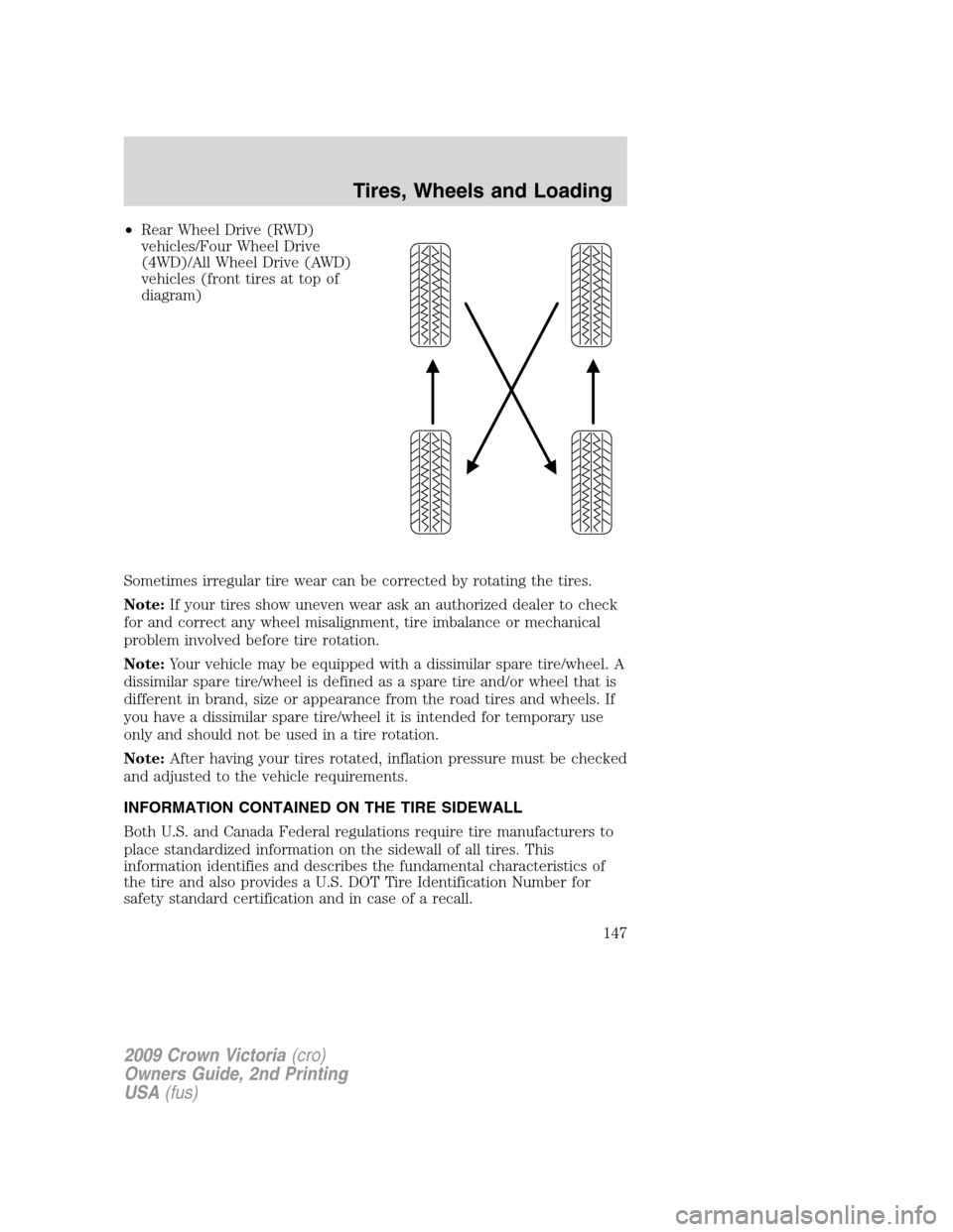 rotating tires awd owners manual different