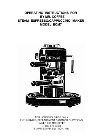 mr coffee espresso ecm160 manual