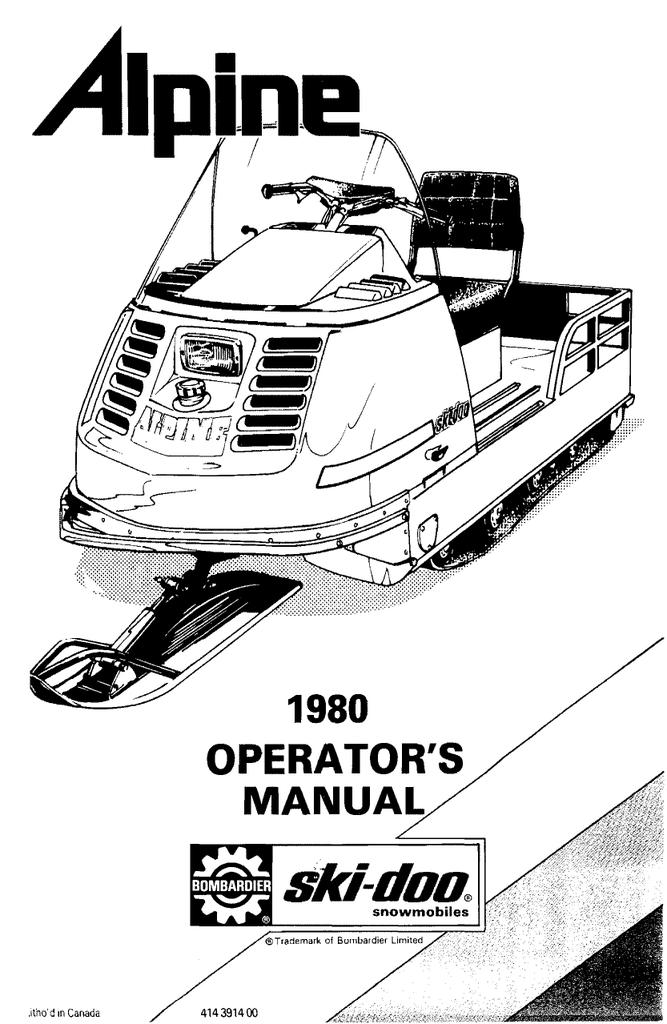 ski doo service manual alpine 1980