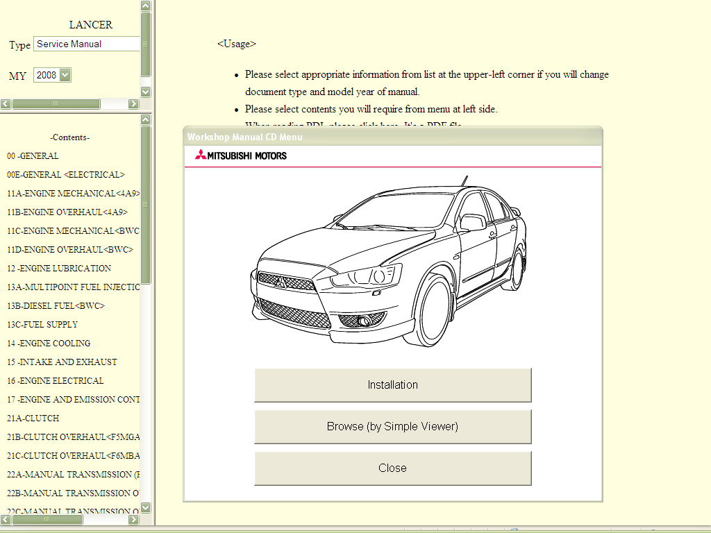 mitsubishi lancer warranty and maintenance manual