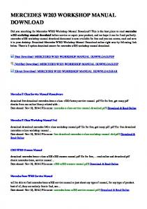free download mercedes benz c-class w203 2000-2007 repair manual pdf