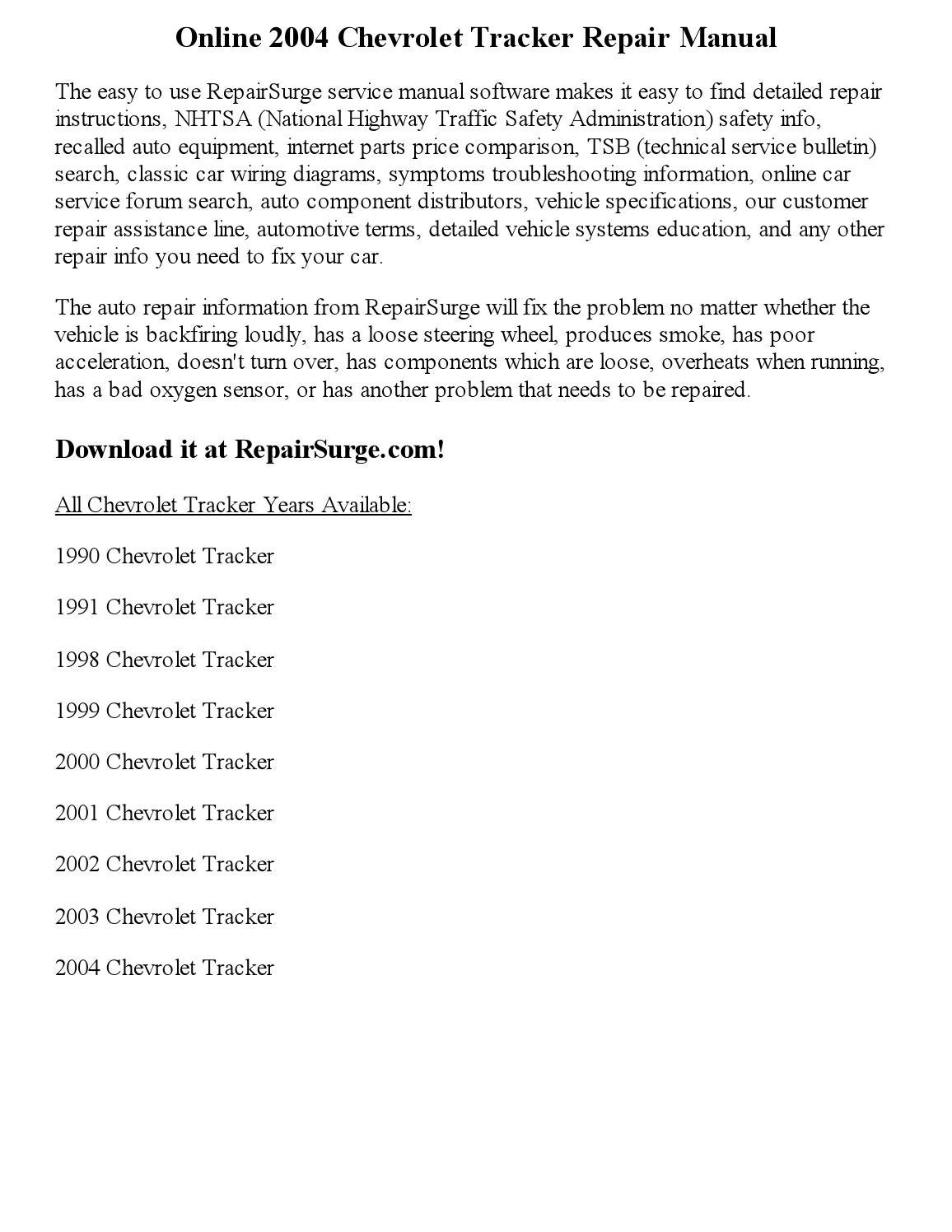 2000 chevy tracker repair manual download