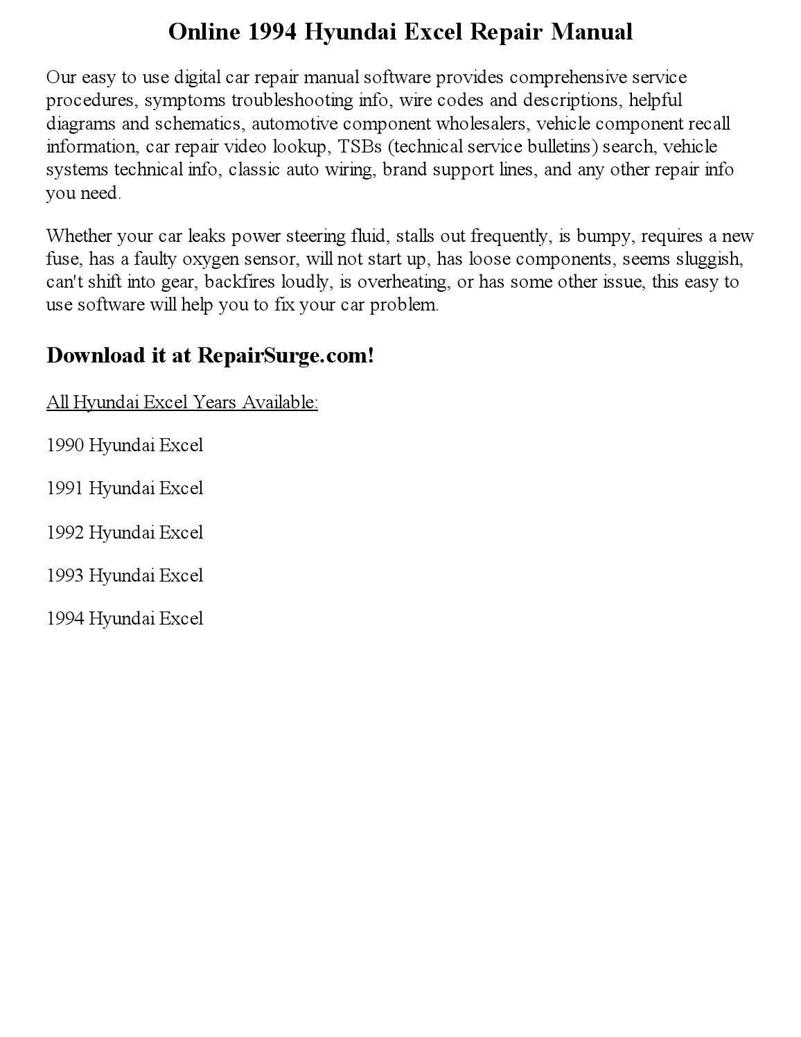 hyundai excel 99 repair manual