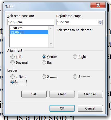 word create tab stop manually